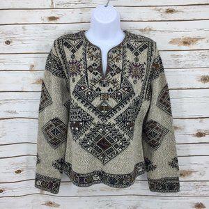 Kota Studio Bolivia Alpaca Intarsia knit sweater M